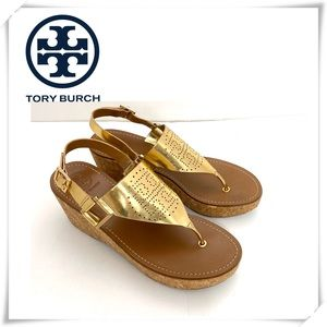 Tory Burch Gold Thong Cork Wedge Sandals